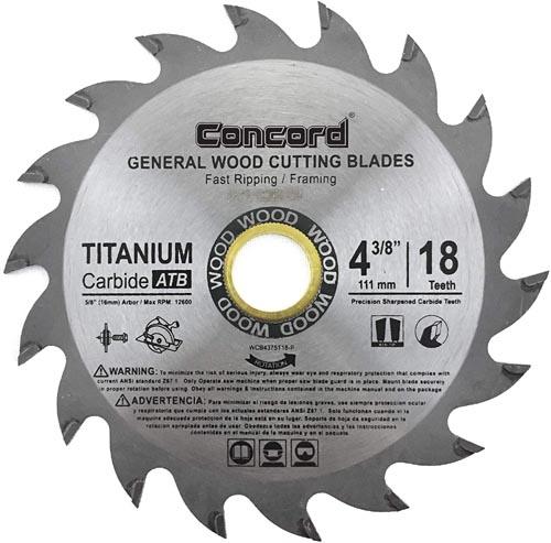 Concord Blades WCB0438T018HP 4-3/8-Inch 18 Teeth TCT General Purpose Hard & Soft Wood Saw Blade