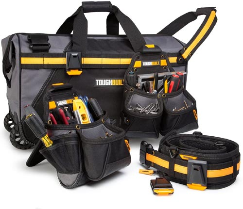 ToughBuilt Rolling Bag & Belt Combo - Includes 24 In ClipTech Rolling Contractor Bag