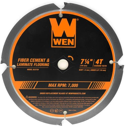 WEN BL0704 4-Tooth Diamond-Tipped (PCD) Professional Circular Saw Blade for Fiber Cement and Laminate Flooring